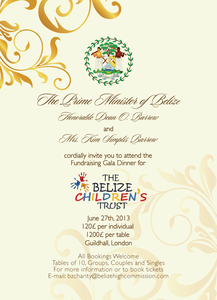 Belize Childrens Trust Charity Gala In London 27th June